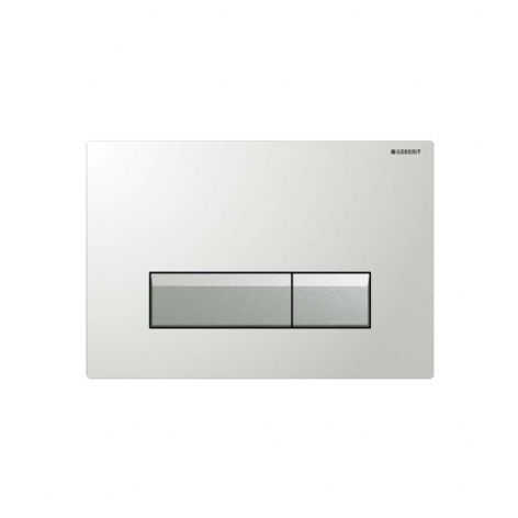 Geberit Sigma40 White Glass Odour Extracting Dual Flush Plate - 115.600.SI.1